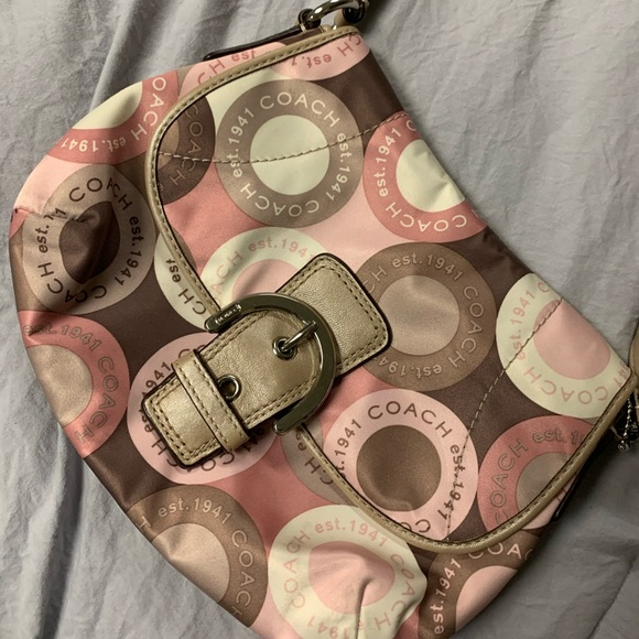 COACH Silk pink and brown purse